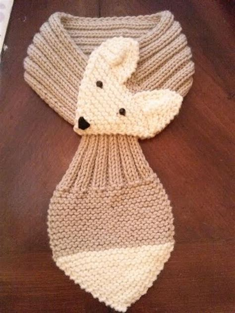Adjustable Fox Scarf Hand Knit Scarf / neck warmer for kids