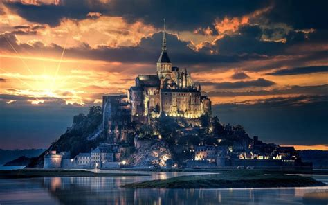 Download wallpapers 4k, Mont-Saint-Michel, sunset, french