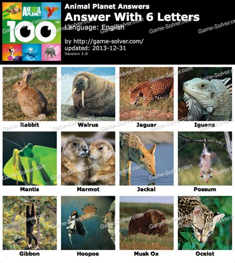 Animal Planet 6 Letters - Game Solver