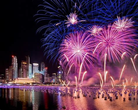 Singapore New Years Eve Holiday Fireworks City At Night Hd