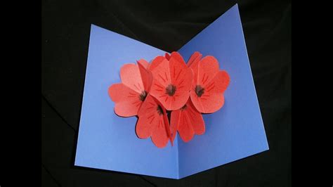 Mother's Day nice poppy pop up card - YouTube